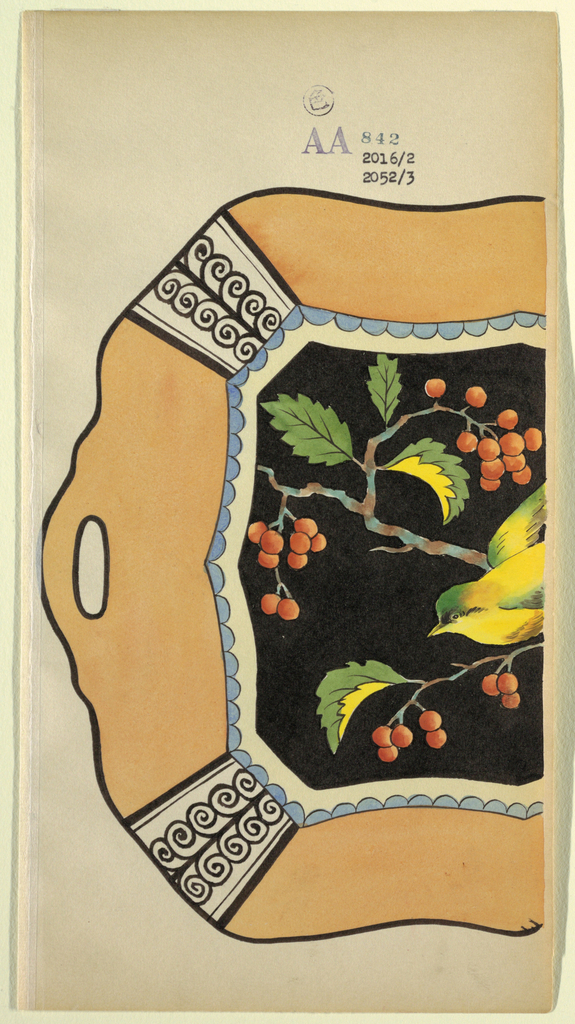 Partial design for serving platter; border of light orange with handle, and black vines; then a blue scalloped border, containing yellow bird on a branch of red berries and green leaves against a black ground.