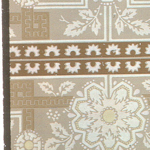 Wallpaper roll. Printed two across, round stylized floral motif with foliage. Printed on tan ground.