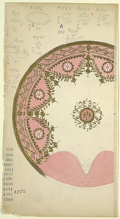 Design for a plate that is mostly salmon-colored; border decorated in scallop form garlands, rim, and rhomboid pattern in gold. Several tableware sketches in graphite upper margin.