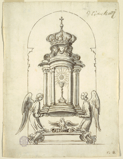 "Two angels are supporting a pavilion with the chalice and the host, the roof is shaped as a crown. Between the mantles of the angels, a socle with a swan on top. Below at right L ""NO. 2"" and a monogram, ""BC."" Above in another handwriting, probably of the man, making the commission: G. Ciacchetti, which may mean his signature or the name of the artist. Above in another handwriting, probably of the man making the commission: G. Ciacchetti that may mean his signature or the name of the artist."