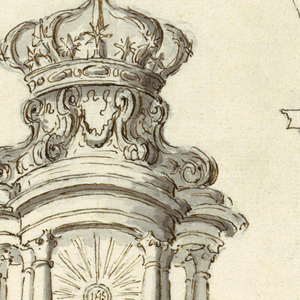 """Two angels are supporting a pavilion with the chalice and the host, the roof is shaped as a crown. Between the mantles of the angels, a socle with a swan on top. Below at right L """"NO. 2"""" and a monogram, """"BC."""" Above in another handwriting, probably of the man, making the commission: G. Ciacchetti, which may mean his signature or the name of the artist. Above in another handwriting, probably of the man making the commission: G. Ciacchetti that may mean his signature or the name of the artist."""