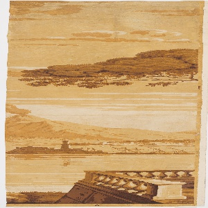 Includes the Bay of Naples, an erupting Mount Vesuvius, tall ships in the harbor, and many figures attending to business and pleasure. 27 panels plus fragments of panels. Printed in a monochrome yellow ocher colorway, possibly called biche chamois.