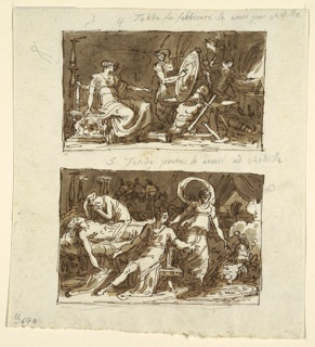 Drawing, Thetis in the Workshop of Hephaestus; Thetis Showing the Armor to Achilles: Two Designs for Ceiling Panels in the Galeria d'Iliade, Palazzo Milzetti, Faenza