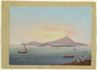 View of the island of Ischia off of the Neapolitan coast. Mountainous land in the background and boats in the middle and foreground.