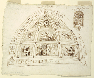 Decoration for vaulted ceiling. Fret band and frame subdivided into nine panels. Lower rows: quadrangular panels decorated with flying genii; central panel shows seated woman  and putto.  Top row: triangular panels decorated with wreaths and masks. Inscribed in ink, above drawing: Camera da letto. In right corner, sketch in octagonal panel; Cornelia sitting in room with two standing figures. Inscribed above, in ink: corneglia madre dei/ grachi. Verso: sketch with variation of decoration. Below, one more framing frieze with rinceaux. Central panel, second row: Venus with putto holding looking-glass. Bottom row: panels decorated with dancing women and children beside candelabrum.