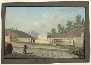 "A drawing from the Neapolitan school of two history enthusiasts at Pompeii (""Fedili a Pompei""), who stand in the ancient road as one gestures toward the ruins. In the left background, figures with hoes stand on a hill."