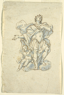 The youthful king is standing upon clouds and gazing upward in ecstasy. A seated putto holds the harp, at left.