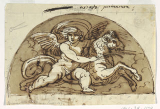 Winged putto with ram in a demi lune.