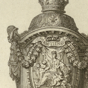 Footed vessel decorated with garlands, foliage, and classical figures, and topped with a crown. At the center, a cartouche is decorated with an enthroned classical female figure wearing a crown, and surrounded by two putti and a lion.