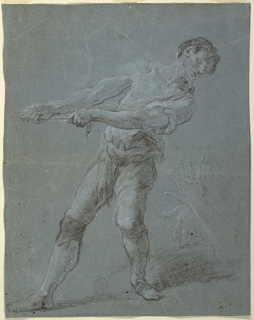 A man in three-quarter view is pulling a rope extending from the left.  He leans back, muscles taut.  More lightly drawn to right: a pair of crossing hands. Verso: A man is sitting with reclined torso and head; he is shown from the right front. The left foot is standing higher than the right one. The left leg is shown in profile.