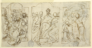 The three stages of the Passion are sketched in three spaces defined by lobed archways. On the reverse, part of a sketch of an oval composition: Simeon and Anna with the infant Jesus in the temple and a sketch of an Oriental man.