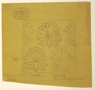 Square tile design featuring three complete and two half clumps of plants with seven flowers.