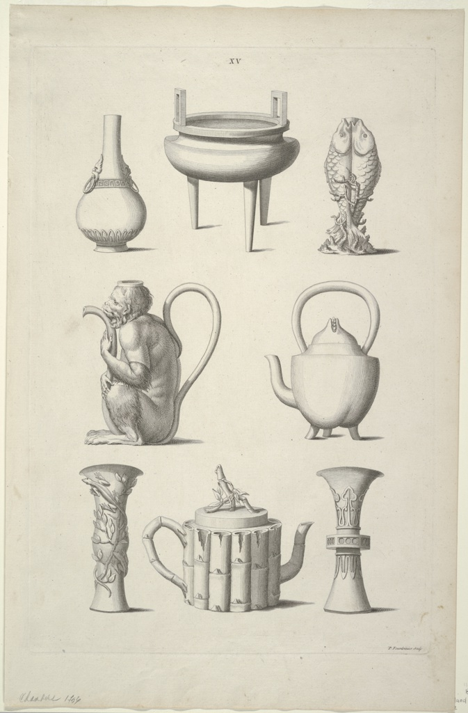 Print, Designs for Tableware, Plate XV of Designs of Chinese Buildings, Furniture, Dresses, Machines and Utensils.