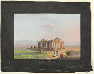A Neapolitan landscape with a Temple of Ceres. Several figures in the foreground.