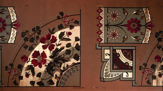 Wallpaper roll.  One quarter of a circular medallion, containing red poppies and foliage printed over bands of wide bands of gold and ocher. Two other medallions are included.