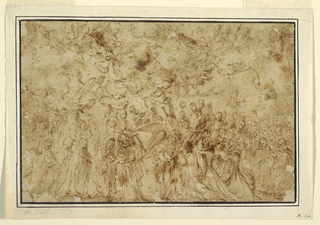 Depiction of the Assumption of the Virgin. The female figure of the Virgin Mary stands at the bottom center while being greeting by an angel. To the left of her is a trail of figures and to the right of her a crowd of angels (?).  Above the Virgin at center is St. Thomas holding up the girdle given by Mary.  Throughout the top of the drawing are angels flying above them all. Framing lines.