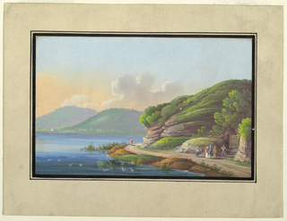 A Neapolitan landscape with hills and a body of water. At center, one figure walks alone on the road along the shore, and at right five others and a dog stand near a door leading into a hillside.