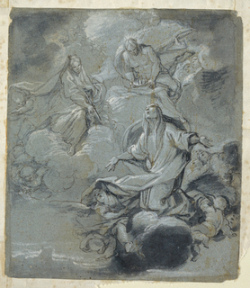 "At lower right, a female figure covered in drapery, her arms outstretched, putti surrounding the cloud below her. Above, an angel lowers a crown onto her head. Additional angels in the sky at left. Verso: a study for ""Rest on the Flight""."