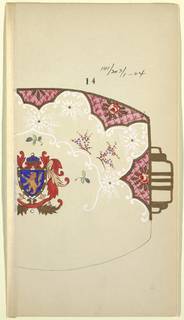 Partial design for serving platter; border of gold with scalloped edges in pink grid with roses. Coat of arms at center of platter: lion and crown; handle in gold.