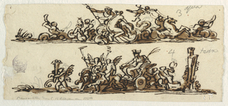 "Horizontal rectangle. Above: Water Amphitrite riding over water. Caption: ""3 aqua"". Below: Cybele in chariot drawn by lions, upon which putti with torches sit. Caption: ""4 terra."""