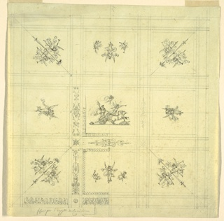 Drawing, Ceiling Decoration, Victory in a Chariot, Palazzo Quirinale, Rome
