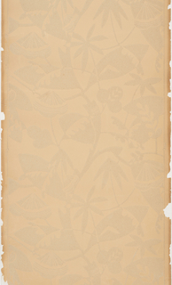 Large-scale floral design, conventionalized, printed in beige flock on beige uncoated paper.