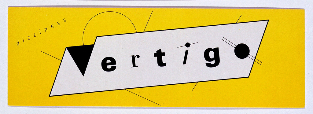 Business card in black and white on yellow background. Vertigo, written in black in a white box. Upper left, in black text: dizziness.