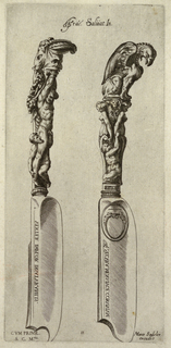 Both knives with heavily ornamented handles. At left, carving knife with hook-tipped blade has handle decorated with figure of bound Marsyas with his hands above his head as bearded man kneels between his legs and grasps his genitals. At right, broad-blade servivng knife with rounded blunt tip; handle displays Apollo's griffin above two bare-breasted female figures with a bearded man (perhaps Olympus) at their feet.