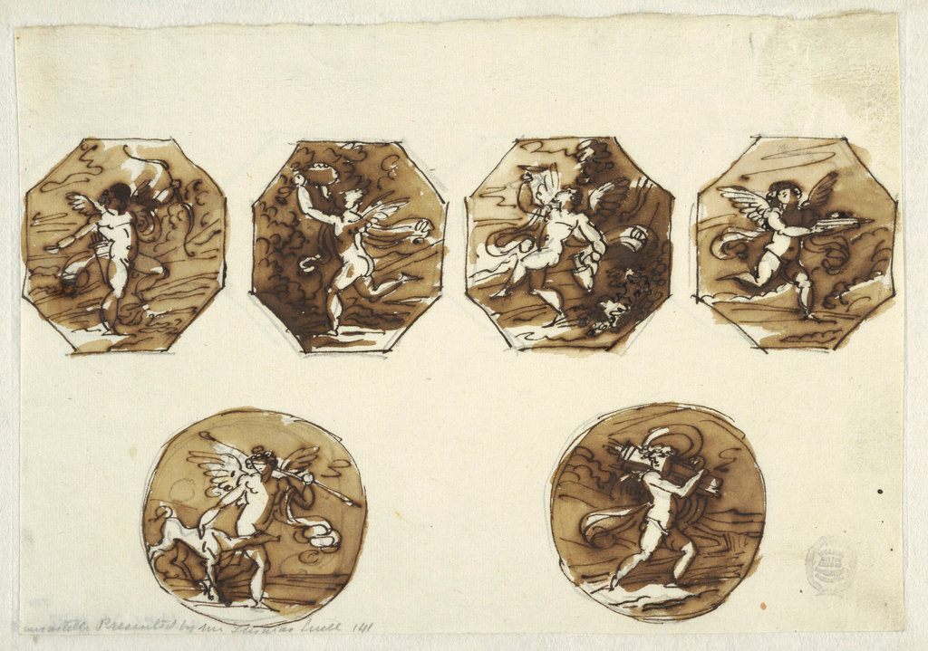 Drawing, Putti in Four Octagons and Two Circles