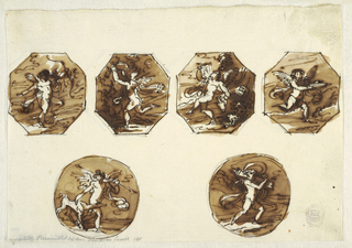 Horizontal rectangle. Upper row: octagons showing first putto with bow and quiver at back; second putto running with wreath; third putto dancing with bowl and pitcher; fourth putto running and carrying dish.  Bottom row: circles. At left, male putto with spear and dog. At right, putto walking and carrying quiver upon left shoulder. All representations include landscapes.