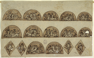 "Horizontal rectangle. Upper row, each semi-circle contains woman sitting upon centaur. Left panel turned toward left, carries bowl. Above sketched, shell in center between pairs of dolphins besides tridents. Second panel, Centaur turned right, woman carries bowl. Third panel: Centaur turned toward left, carries shell. Fourth panel: Centaur turned right, carries something indistinct, possibly bone. Fifth panel: Centaur same direction; he swings sword.  Second row first panel: Centaur turned toward left carries thyrsus. Woman plays lire. Second panel:  Centaur turns right, a woman embraces him. Third panel: Centaur turned left, he carries cornucopia. Fourth panel: Centaur turns left and carries oar. Fifth panel: Centaur turned right embracing woman on right arm; their left hands joined. Bottom row: at left and at right, four lozenges, each with dancing woman. In center, two semi-circles. In left one, centaur turned toward left, holding cloth. In right panel, ""Centaur"" turned toward right, playing lyre. Verso: written in ink by Giani, ""Delle/ Revoluzioni/ D'italia/ libri venti quattro/Di Carlo Denina/ colonne terzo/ torino/ apresso li/ fratelli/ Revcendis/."""