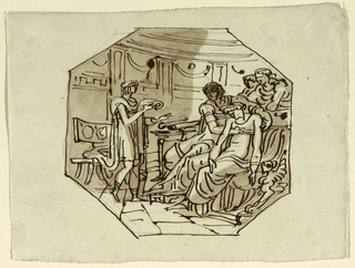 Drawing, Virgil Reading the Eulogy of Marcellus to Lucretia and Augustus, Palazzo Cavina, Faenza, 1816