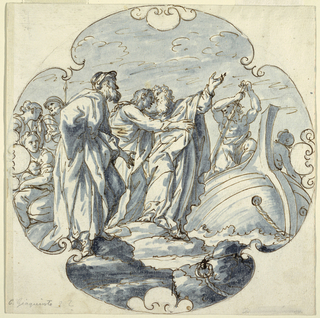 In a quatrefoil vegetal frame, a saint is about to step off a boat on shore. He is welcomed by another saint, while a third is bidding him farewell. Left, a crowd of mostly women has gathered.