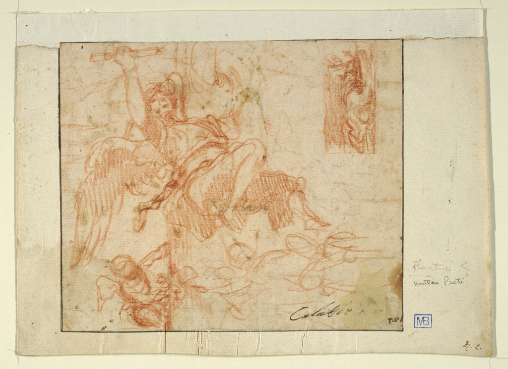 Drawing, Flying Angel and Other Figures