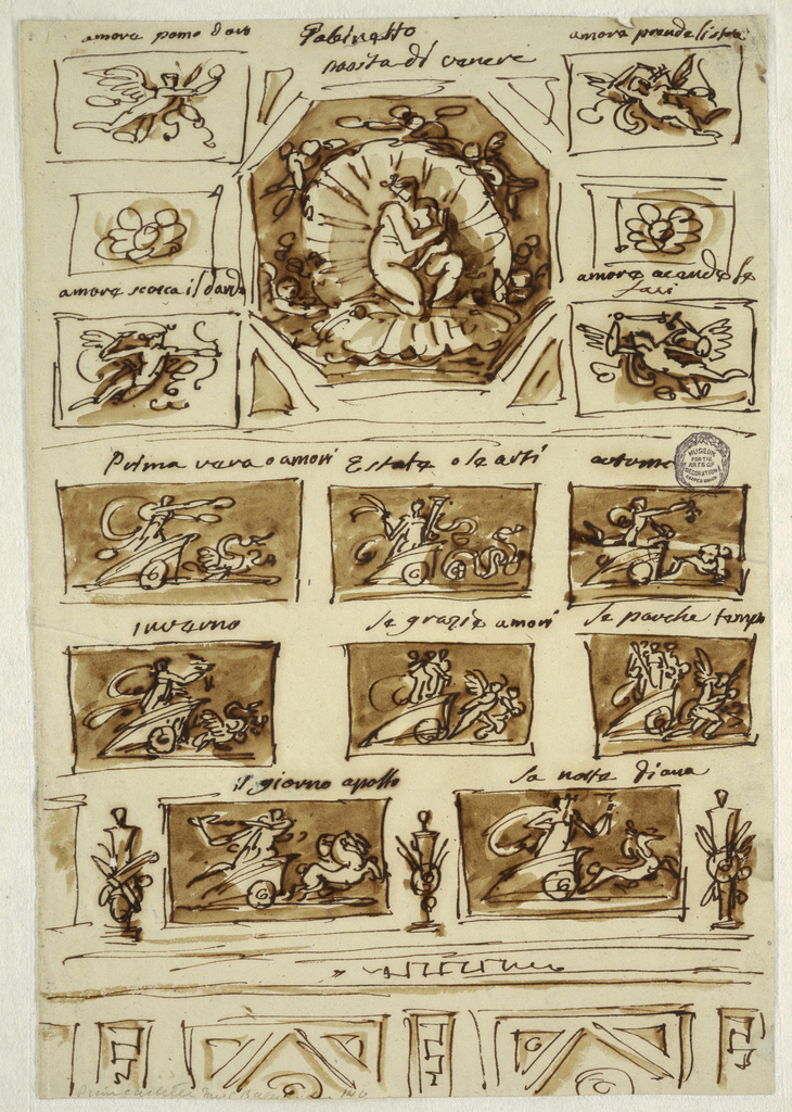 Sheet divided into fifteen thumbnail sketches. At top center, Venus in a shell. Around this are angels. Below, chariot scenes and trophies.