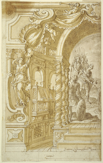 """Left half of an architectural interior is shown. View through a kind of proscenium with a caryatid in an apse. It has a basement with window grates. The main floor has the shape of an arcade with balconies with screens. Three steps lead into the center to a platform upon which twisted columns, three in a row, support an arch. Shown is """"Ahasverus,"""" accompanied by soldiers, stretching out his arms towards """"Esther,"""" kneeling. The mace is in his right hand. Framing line, below, at left. Below is the scale: """"Canna."""""""