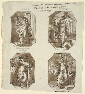 Four octagonal drawings. Top, left: Justice shown standing on one side of niche, leaning upon fasces and raising pair of scales. Inscribed above in graphite: GIUSTIZA.  Top, right: Prudence shown standing in temple precinct, holding looking-glass and snake. Inscribed above in graphite: PRUDENZA. Bottom, left: Strength holding club and shown near trophies. Inscribed above in graphite: FORTEZZA. Bottom, right: Vigilance holding lamp with crane. Inscribed above in graphite: VIGILANZA.