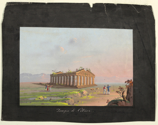 A Neapolitan landscape with the Temple of Neptune and several figures.