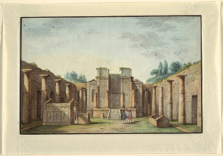 Neapolitan landscape of a courtyard with walls and columns visible on three sides. Ruin of a building at center, with smaller structure at left and four figures.