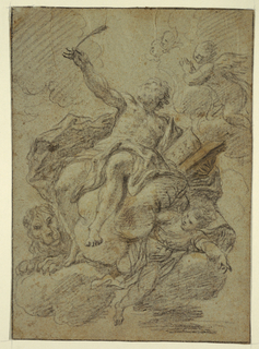 Figure of Saint Mark holds a book in his left arm and a pen, aloft, in his right ;the lion is at lower left. Verso: sketch of a shoulder and upper arm.