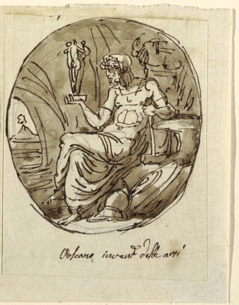 """Vulcan shown in profile, seated beside anvil toward left, inside cave. Right hand holds group of Three Graces, left hand holds hammer. Distant view of volcano. Inscribed inside oval: Volcano invent delle arti. Top left, perhaps part of """"7."""""""