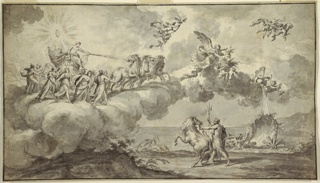 "Design is based on Guido Reni's ""Aurora,"" Palazzo Rospigliosi, Rome. The clouds rise from the sea and carry Apollo in his chariot. He is accompanied by the Hours; the group is preceded by Aurora and two genii holding a jar and flowers. In the lower right, Neptune stands onshore; he holds the reigns of his horse and his trident."