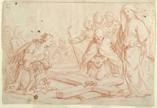 Several men and a woman kneel and bend in veneration around the Cross on the ground, the Crown of Thorns still attached.