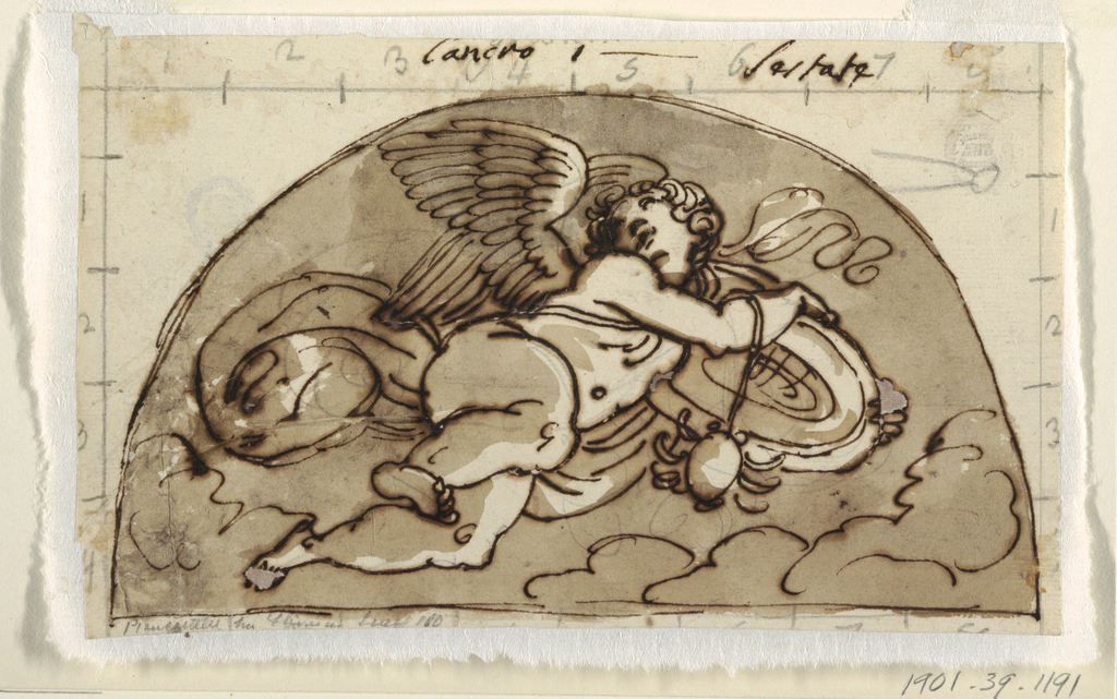 Flying winged putto carrying disk, or platter, and crab in a demi lune.