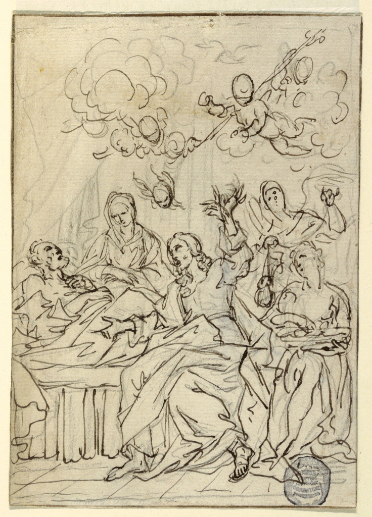 Jesus is preaching, sitting upon the bed; different attitudes of his left raised hand are sketched.  Mary, angels, cherubim are present.  On verso:  sketch of a servant.