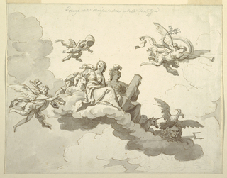 Drawing, Design  for a Painted Ceiling: Triumph of Meekness and Strength