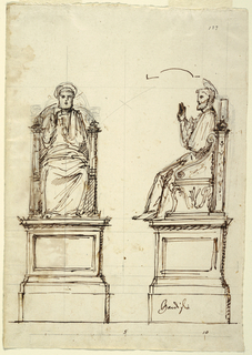 Design for a marble throne for the Statue of St. Peter at St. Peter's Basilica in Rome, Italy; full-face and profile view shown; throne upon a pedestal, the figure of St. Peter seated with right arm raised, halo. Scale indicated at the bottom.