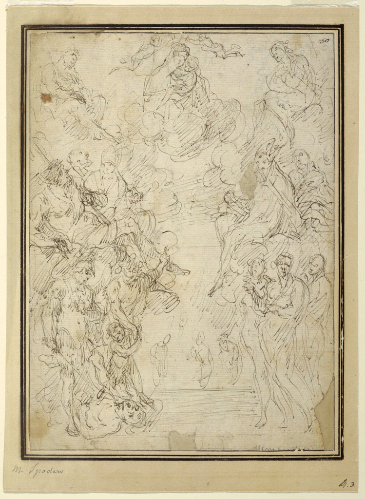 Drawing, Virgin and Child with Saints