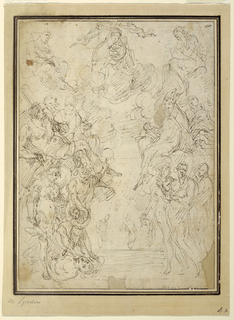 Figure of the Virgin Mary is shown seated on a cloud at upper center, holding the Christ child. She is crowned by two angels. Saints stand at either side, and Lucifer is being overcome at lower left.