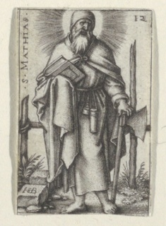 S. Matthias is represented standing frontally, his left hand holding an axe; his right hand holding a book.